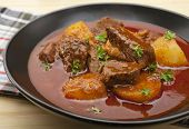 Hungarian Beef Goulash, Somewhere Between A Soup And A Stew, Made With Economical Beef Chuck Steak,  poster
