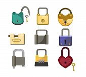 Lock Icons Set. Heart Lock, Metal Lock, Code Lock. House Protection Concept. Vector Illustration Can poster