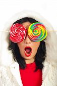 Amazed Woman With Lollipops