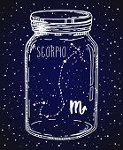 Scorpio Hand Drawn Zodiac Sign Constellation In A Mason Jar. Vector Graphics Astrology Illustration. poster