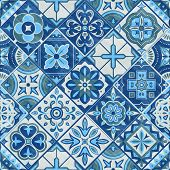 Seamless Patchwork Tile In Blue, Gray And Green Colors. Vintage Ceramic Tiles Vector Illustration. F poster