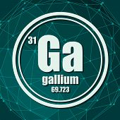 Gallium Chemical Element. Sign With Atomic Number And Atomic Weight. Chemical Element Of Periodic Ta poster