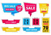 Trendy Flat Banners. Offers Advertizing Discount Tags Promo Labels Stickers Graphic Vector Colored S poster