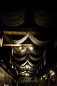 Showing Off The Architectural Features Of The Ceiling. Decorative Old Ceiling With Drapes. Ceiling D poster