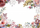 Set Of Flower Branches. Pink Rose Flower, Green Leaves, Red . Wedding Concept With Flowers. Floral P poster