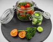 A Variety Of Canned Products In Glass Jars - Tomatoes, Cucumbers, Brussels Sprouts, Broccoli. Preser poster