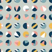 Circle Collage Seamless Vector Pattern. Contemporary Collage Of Dots. Paper Cut Out Style. Modern Ab poster