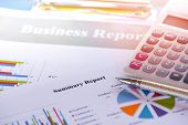 Business Report Chart Preparing Graphs Calculator Concept / Summary Report In Statistics Circle Pie  poster