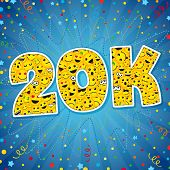 20 000 K Followers Thanks Card. Thank You 20k Logotype. Congratulating Bright 20.000 Networking Than poster