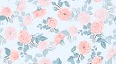 Pastel Floral Pattern, Vintage Pink Roses In Watercolor Style. Wedding Print, Retro Flowers Backgrou poster