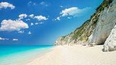 Egremni Beach, Lefkada Island, Greece. Large And Long Beach With Turquoise Water On The Island Of Le poster