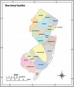 New Jersey State Outline Administrative And Political Vector Map In Color poster