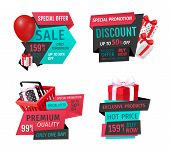 Presents In Shopping Basket, Inflatable Balloon Special Shop Offer Promo Advert Labels Isolated. Meg poster