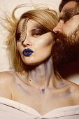 Makeup Art. Sensual Woman And Bearded Man With Makeup And Body Art. Makeup Art And Design. Makeup Is poster