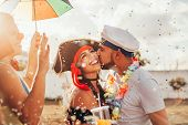 Couple In Costume Celebrating The Carnival Party In Brazil poster