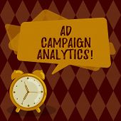 Conceptual Hand Writing Showing Ad Campaign Analytics. Business Photo Showcasing Monitor Campaigns A poster