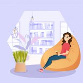 Illustration Girl Resting In Chair With Cup Coffee. Vector Image Young Smiling Woman Sits In An Easy poster