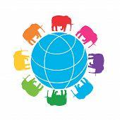 Rainbow Elephants Around The Globe. Vector Illustration Of Globe With Silhouettes Of Elephants. poster