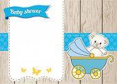Постер, плакат: Baby душ карты с голубой коляска