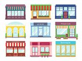 Store Flat Buildings. Cartoon Shop Facade With Showcase Boutique Retail Building Storefront Restaura poster