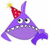 Party Shark Cartoon Sea Animal Purple Shark On A White Background In A Red Cap With Yellow Stars. Ca poster
