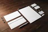 Blank Stationery Template On Wooden Background. Mock-up For Branding Identity. For Design Presentati poster