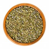 Herbes De Provence In Wooden Bowl. Mixture Of Dried Herbs Of The Provence, France. Savory, Rosemary, poster