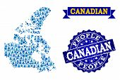People Composition Of Blue Population Map Of Canada And Scratched Stamp. Vector Watermark With Scrat poster