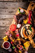 Assortment Various Barbecue Food Grill Meat, Bbq Party Fest - Shish Kebab, Sausages, Grilled Meat Fi poster