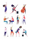 People Playing Music. Musicians Performing Rock Music Singers With Microphone Guitarist And Drummer. poster