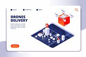 Drone Logistics Isometric Concept. Future Delivery Technology, Shipment With Unmanned Drones And Qua poster