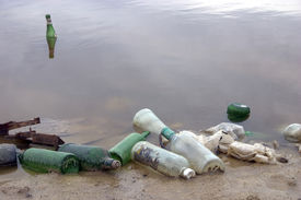 image of water pollution  - water pollution scene taken in the city - JPG