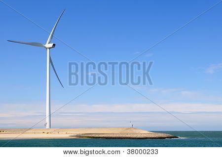 Wind turbine on coast