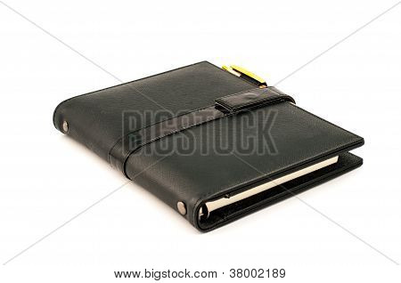 Black Note Book With Ballpoint Pen