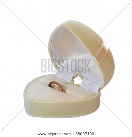 Box In The Form Of A White Heart With Wedding Ring Isolated