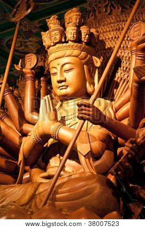 Wooden Quan Yin with ten thousand hands