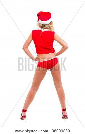 Young Woman Wearing Santa Claus Clothes Posing