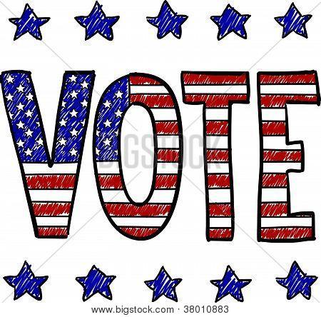 Patriotic vote in election sketch