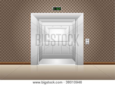 Elevator Doors Open Vector Illustration