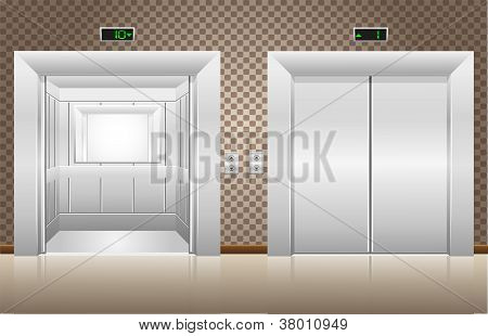 Two Elevator Doors Open And Closed Vector Illustration