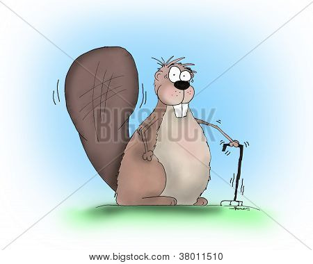 Funny Cartoon Beaver with Cane