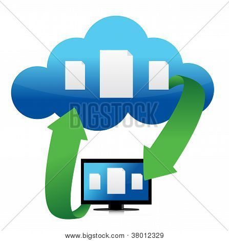 File Transfer From Cloud Illustration