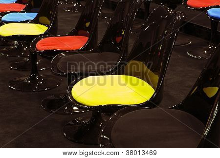 Chairs Standing In Line At Conference Room