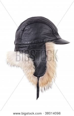 Black Leather Winter Fur Hat