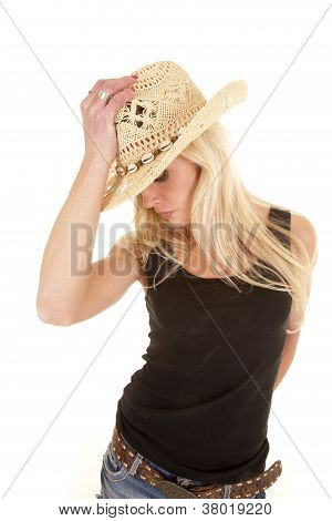 Cowgirl Look Down Hold Hat