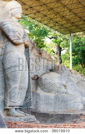 Covered Standing Reclining Buddha Polonnaruwa