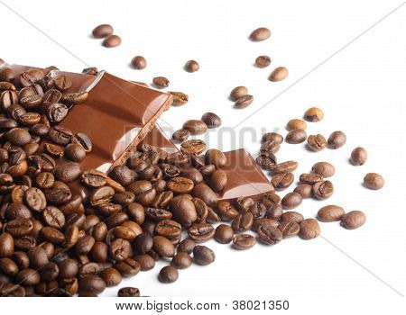 Dark Chocolate And Coffee Beans On White Background
