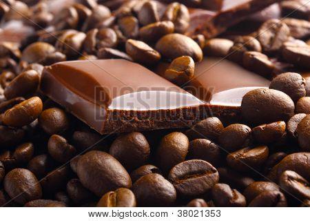 Dark Chocolate Bar In Coffee Beans