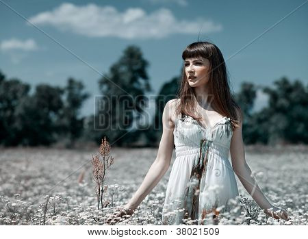 On The Meadow, Abstract Natural Backgrounds With Beauty Young Woman
