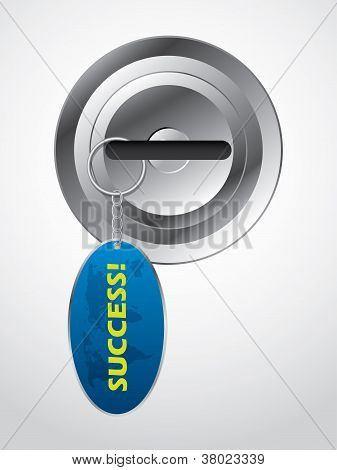 Key In Lock With Success Keyholder